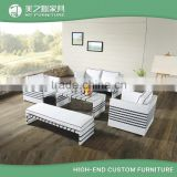 Customized modern leisure cube rattan furniture black line design white rattan sofa set with white cusions                                                                                         Most Popular