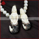 Ox bone carved mermaid jewellery, fashion clownish rhinestone jewelry findings with zircon pave pendant bead