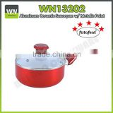 Eco-friendly aluminum non-stick/ceramic sauce pan pressed sauce pan with red color outer coating