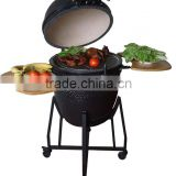 "18"" Ceramic Kamado Smoker Charcoal BBQ Barbecue Grills With Carts"