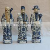 Chinese Antique Porcelain Blue and white Three Lucky Men Statue                                                                         Quality Choice