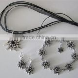 German Ethic Edelweiss White Black Rhinestone Necklace Bracelet Earrings Crystal Oktoberfest Jewelry Set