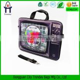 Vintage TV printing laptop briefcase with handle and strap neoprene laptop bag