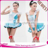 High Quality Sexy French Maid Blue Dress Cosplay Costume