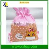 fashion cute cartoon kids non woven sublimation print drawstring bag