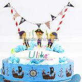 Pirates party cake decor happy birthday cake toppers Cake decoration girl baby shower cake flag sign