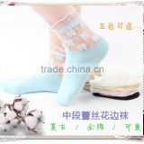 socks !cut! womens retro sweet flower lace socks thin transparent ankle socks wholesale price mix colours