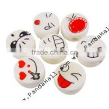 Handmade Porcelain Beads, Flat Round, Multicolor, Size: about 16mm in diameter, 9mm thick, hole: 3mm(PORC-16D-4)