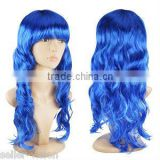 Ladies Long Wavy wig Curly Fancy Dress Full Wig BLUE