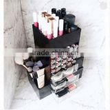 Wholesale New launching Clear Acrylic Makeup organizer Cosmetic storage box with a open and close dust cap.