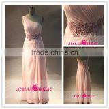 AE132712 Real Fashion A Line One Shoulder Ruffles Rhinestone Sequins Beads Beach Long Pink Evening Prom Dress 2014
