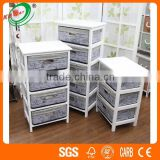 Oil Painted Bamboo Drawers Canvas Storage Cabinets