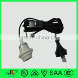 SAA 2 pin electrical plug, AU 2 pin plug, SAA power cable with 303 switch and lampholder