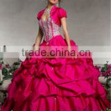 Short sleeve sweetheart beaded sequined ruched hot pink ball gowns with bolero CWFab5337