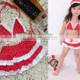 2016 In-stock Lovely Wholesale Boutique Summer Baby Girl Swimsuit Red Polka Dot Print Bikini Ruffles Swimwear With Cap