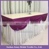 TS094E ice silk fabric gathered table skirts table skirting designs