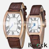 Rectangular Roman Numeral Rose Gold Quartz Leather Strap Fashion Pair lover Wrist Watch rose gold watch
