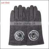 Fashion tight leather gloves for women with fur ball