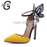 Women high heeled shoes butterfly wing pointed toe thin heels pumps female party wedding shoes woman                                                                         Quality Choice