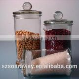 High quality glass dried food hermetic canister with glass lid glass tea coffee sugar caddy