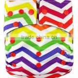 Charcoal Bamboo Fitted Cloth Diaper/Reusable Diaper With Colorful Snaps