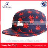 custom red and blue polyester 5 five panel hat cap printed leaf woven label polyester 5 five panel hat