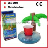 PVC coconut tree inflatable island floating drink rafts /bottle holders for pools and lakes
