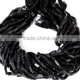"Beautiful 5 Strands Synthetic Black Stone Beads Uneven Square Tube Beads 14"" Long Approx- 3x8mm-4x10mm Black Rectangle B"
