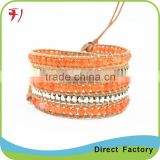Popular leather cord with gemstone bracelet imitation pearl with white glass beads beads 1 row                                                                                                         Supplier's Choice