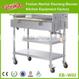 (EB-W02) Cosbao European Stainless Steel Rectangular Charcoal BBQ Grill, Portable Charcoal BBQ Grill with wheels