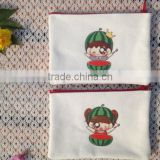factory price cotton zipper coin pouch bag with lovely printing
