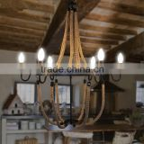 American Country Style Loft retro ball shade hemp rope Chandeliers industrial pendant lamp/light/linghting
