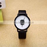Best Selling Japan Movt Black And White Dial Custom Watch Geniune Leather Simple Men And Women Unique Mens Watches