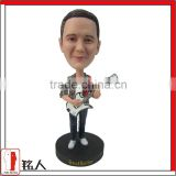 Custom personal Man Bobble Head with guitar standing