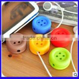 Round colorful button shape silicone earphone cable winder