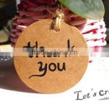 100Pcs/lot 4x4CM Thank You Brown DIY Scrapbooking Kraft Paper Hang Tag Favor Gift Packaging Labels With Jute Twines