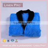 LinenPro Royal Blue Bathrobe Embroidered Satin Robe for Men