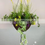 wholesale factory direct sale artificial hanging flower basket with low price wedding decoration