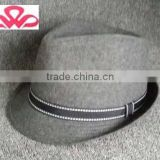 WLZH1014-9 100%Cotton canvas grey fedora mens fashion hat with black band