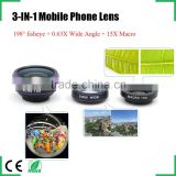 Universal Clip 3 in1 Fisheye fish eye Lens + Wide Angle + Macro Mobile Phone Lens photo Kit Set for iPhone 6 4S 5 5S 6plus S5 S6
