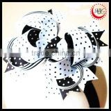 Black and White polka dot print layered boutique hair bow on alligator clips accessoy