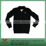 Combed Cotton Spandex Zipper Men Sweater without Hoody Black Color