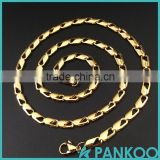 Wholesale Fashion gold-color Stainless Steel Byzantine Titanium Necklace Chain for Men and women