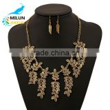 Gold plated zinc alloy leaf necklace set indian bridal jewelry sets jodha akbar vintage jewelry set