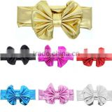 Children hair band Metallic Messy Big Bow baby Girls Headband Cloth Turban Knot Hairband kids Wrap Hair Accessories 7 colours