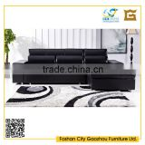 Modern design black PU leather corner sleeper sofa bed with storage