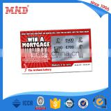 MDP121 custom printing pvc scratch off card/85.5*54mm size plastic lottery scratch card printing