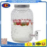 6L glass dispenser for party drink with tap