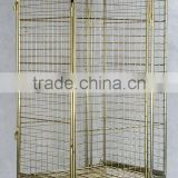 Color-plating security storage mesh cart/trolley for Warehouse or Supermarket