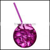 580ml purple Plastic Party Beaker Tumbler & Straw cups Cocktail Juice Cup Ball Bowl